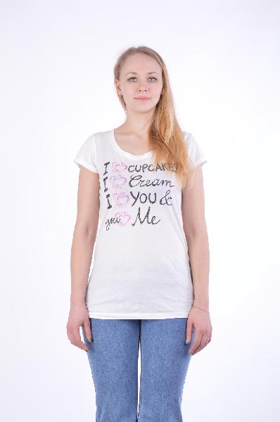 женская футболка с круглым вырезом maison espin, белая
