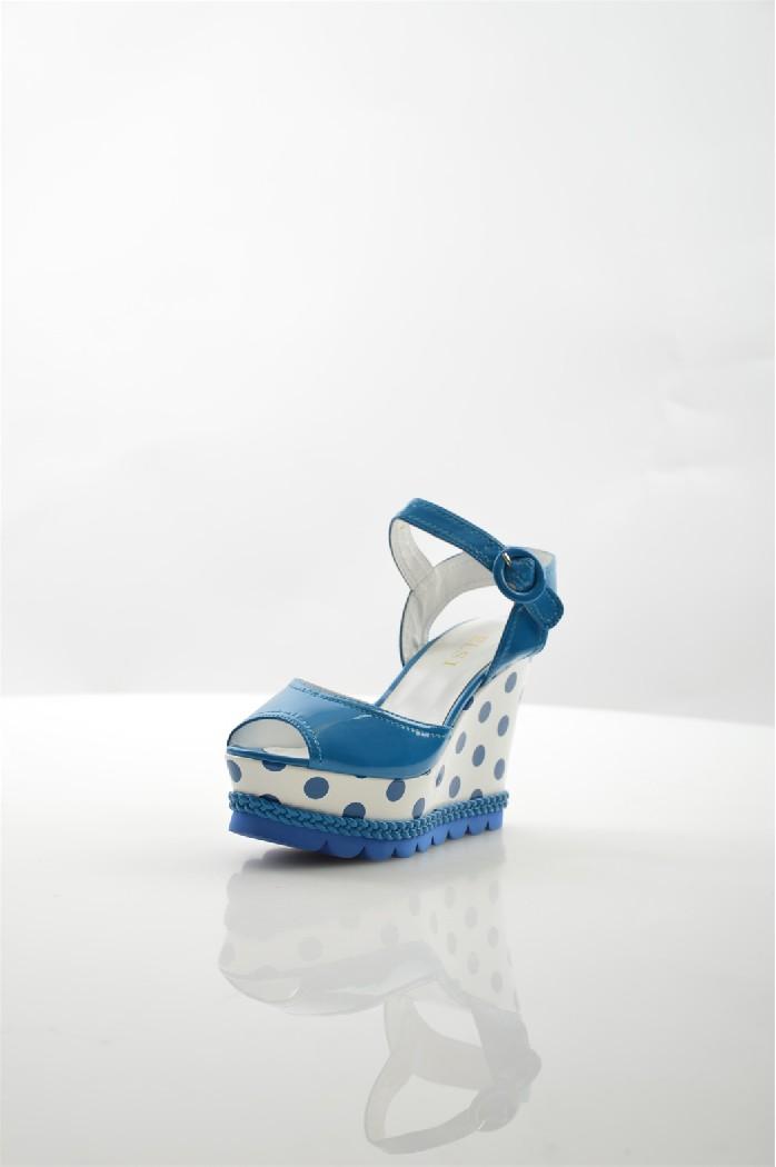 женские босоножки на каблуке elsi, синие