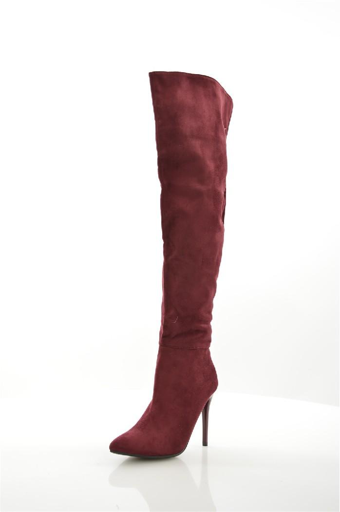 женские ботфорты на каблуке ideal, бордовые
