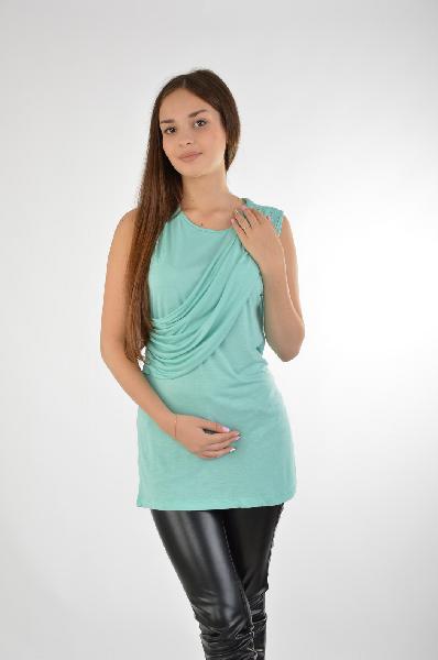женская футболка с круглым вырезом guess by marciano, бирюзовая