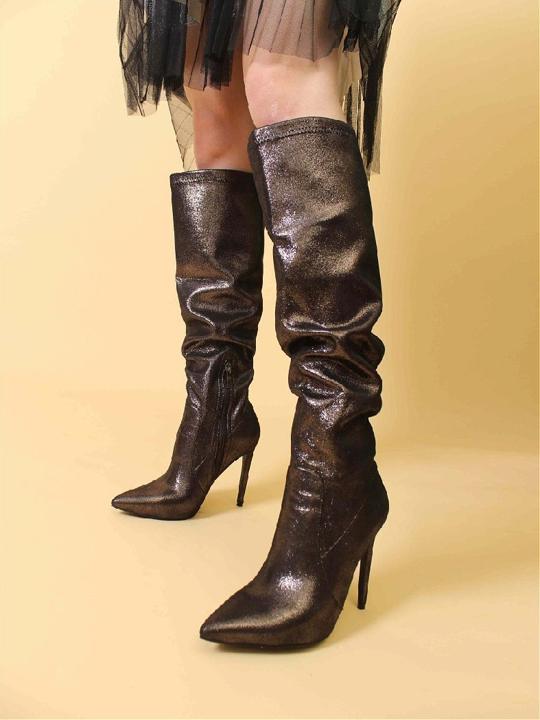 женские ботфорты на каблуке mark lure, коричневые