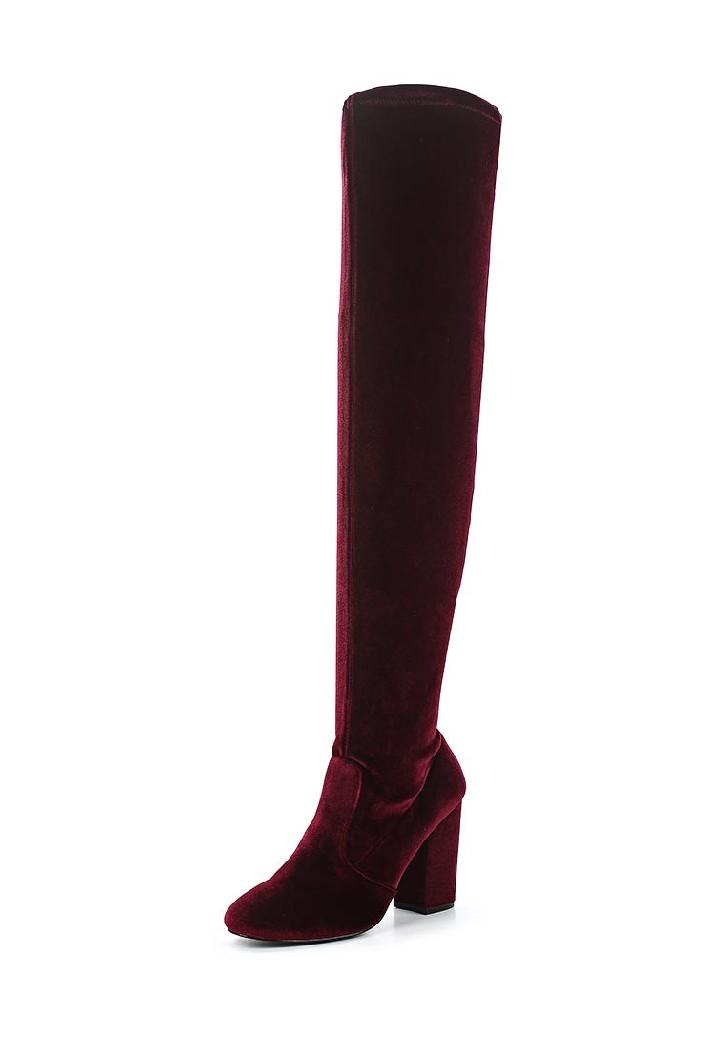 женские ботфорты на каблуке miss selfridge, бордовые