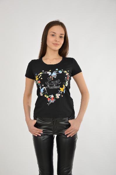 женская футболка moschino, черная