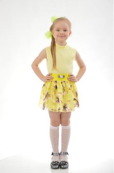 юбка миди loricci для девочки, желтая