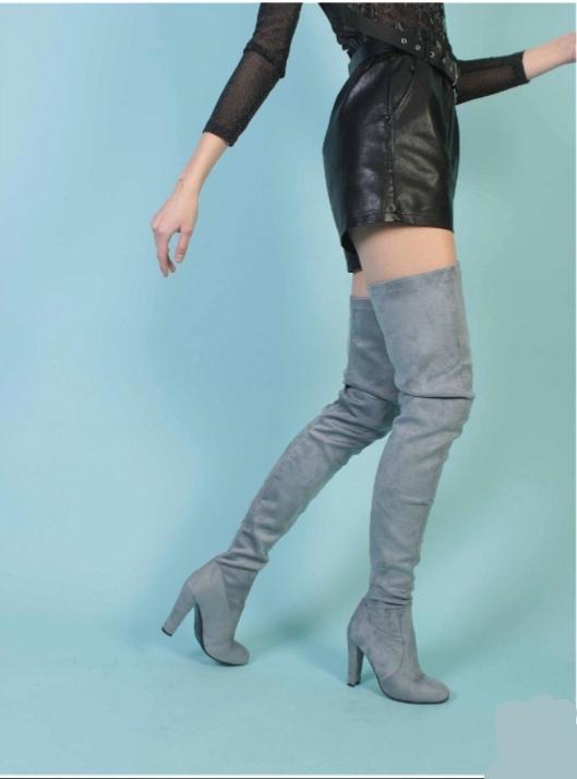 женские ботфорты на каблуке mark lure, серые