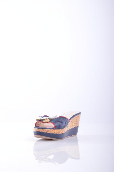 женское сабо на каблуке springway, синее