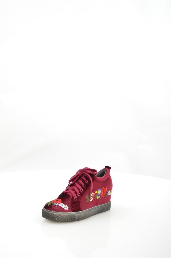 женские кеды на каблуке mellisa, бордовые