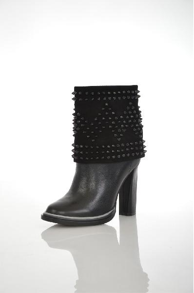 женские полусапожки на каблуке paolo conte, черные
