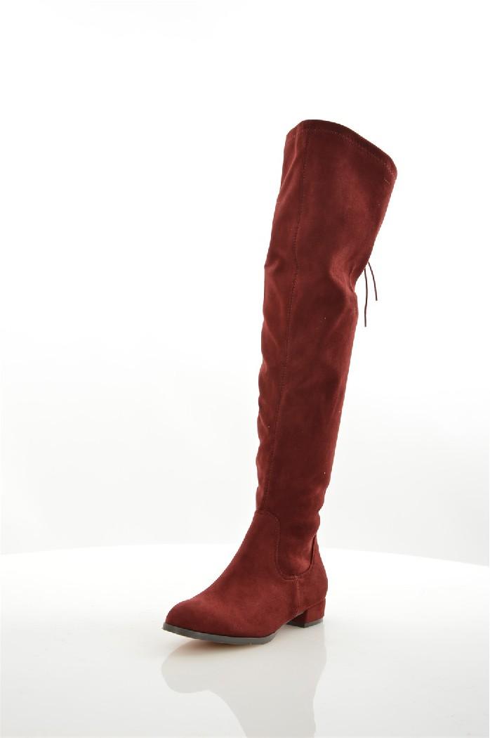 женские ботфорты на каблуке corina, бордовые