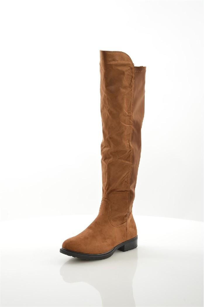 женские ботфорты на каблуке go-go, коричневые