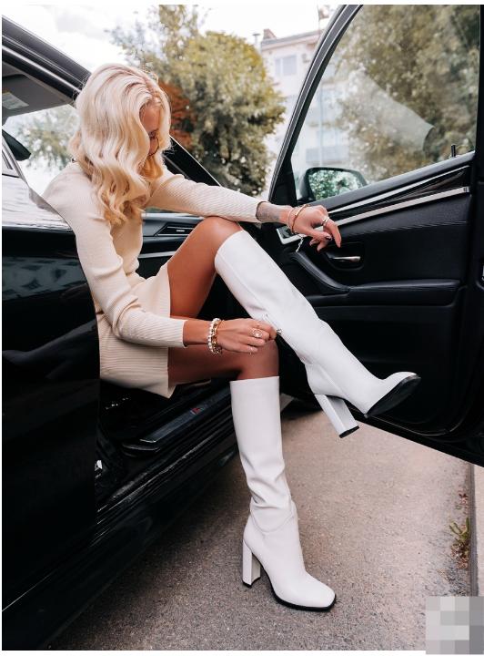 женские сапоги на каблуке enjoin', белые