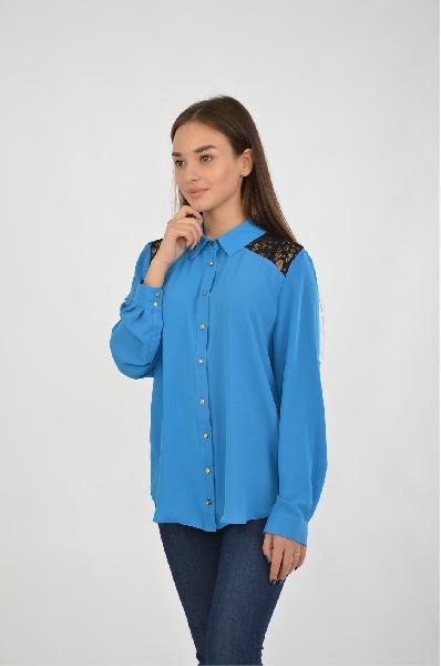 Купить Блузка Moda di Chiara, ИТАЛИЯ, Синий, Полиэстер, МУЛЬТИ, Весна-лето