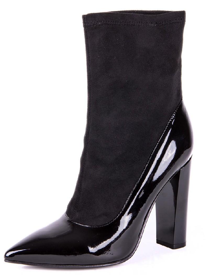 женские полусапожки на каблуке evigi, черные
