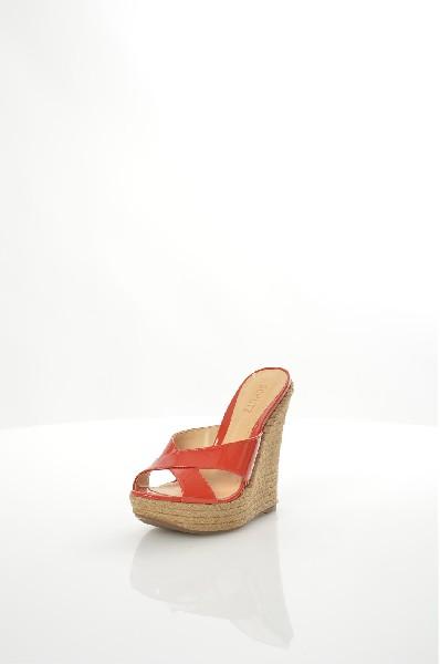 женское сабо на каблуке schutz, красное