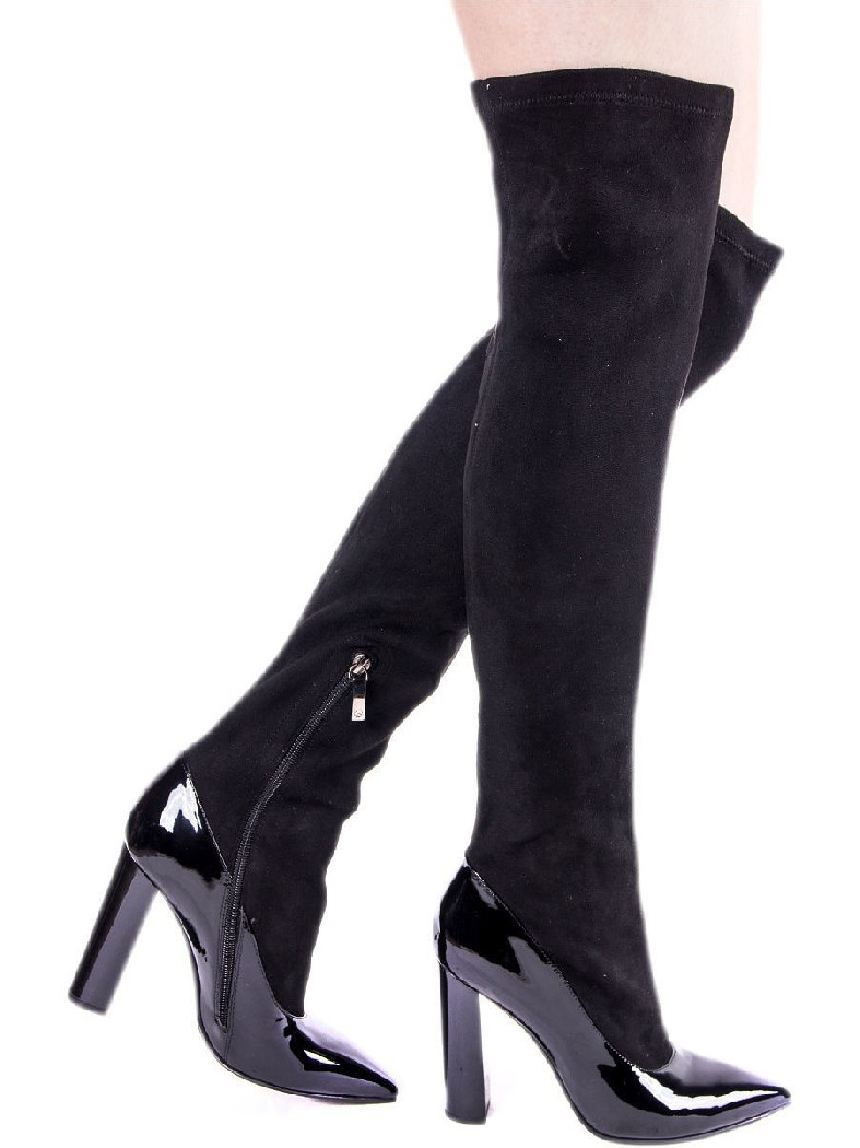 женские ботфорты на каблуке evigi, черные