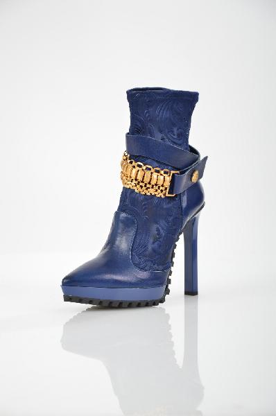 женские ботильоны на каблуке fabi, синие