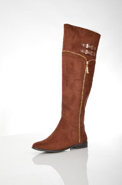 женские ботфорты на каблуке winzor, коричневые