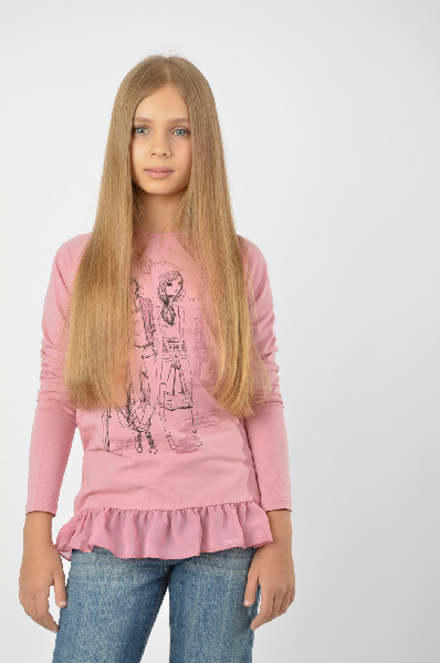 лонгслив s'cool для девочки, розовый