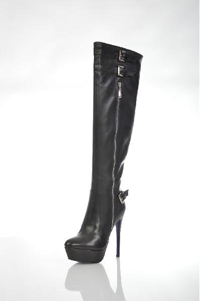 женские ботфорты на каблуке just couture, черные