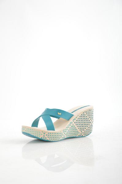 женское сабо на каблуке ipanema, голубое