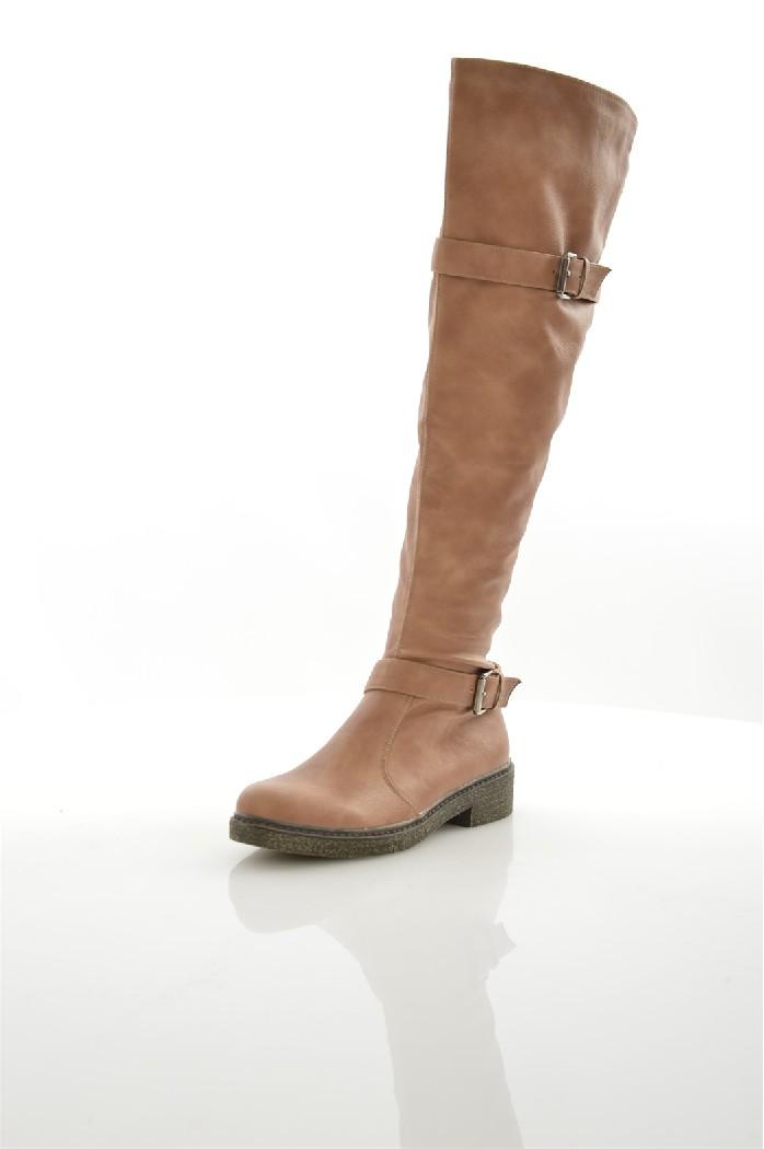 женские ботфорты на каблуке marko, бежевые