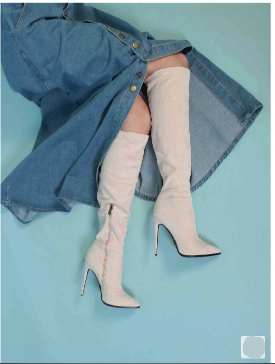 женские ботфорты на каблуке mark lure, бежевые