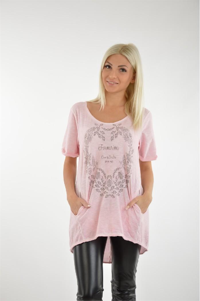 женская футболка fornarina, розовая