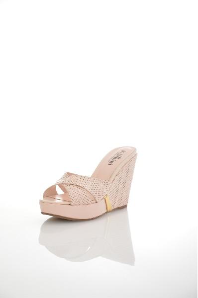 женское сабо на каблуке klimini, розовое