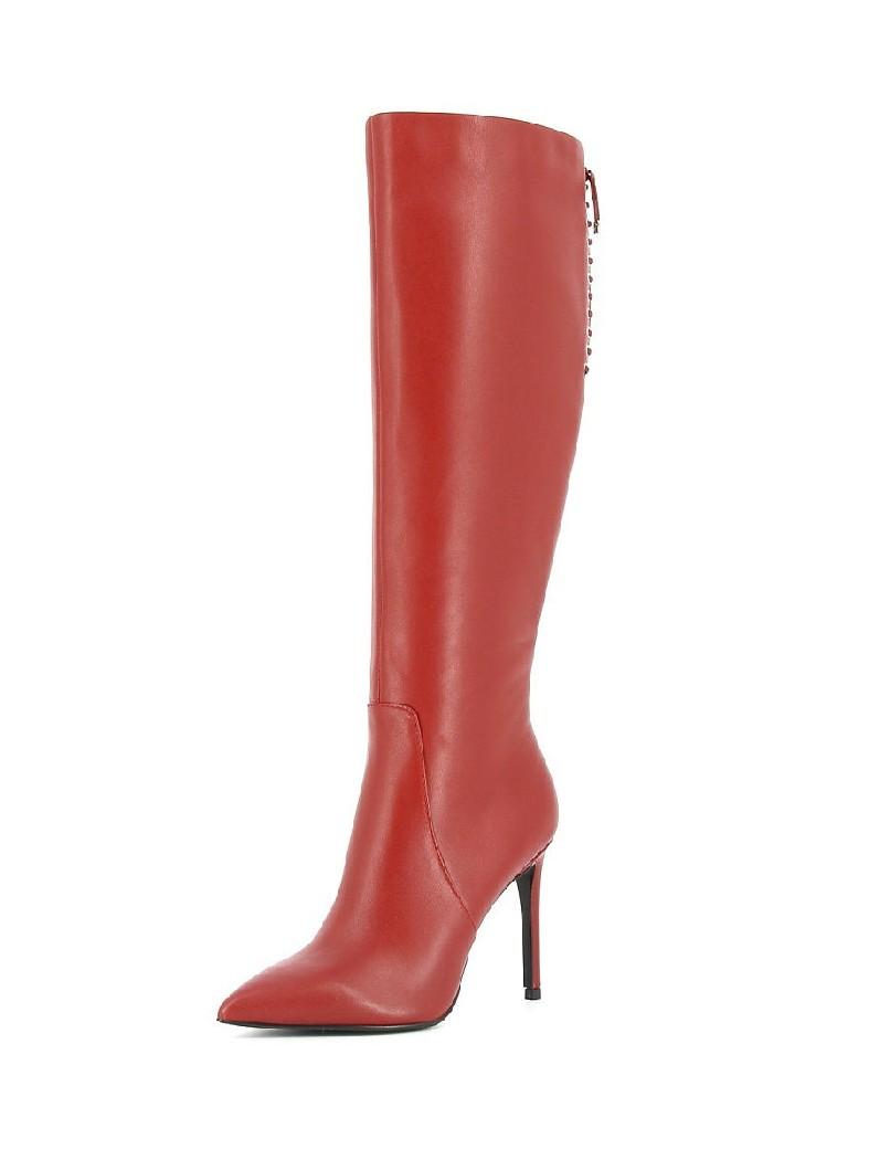 женские сапоги на каблуке paolo conte, красные