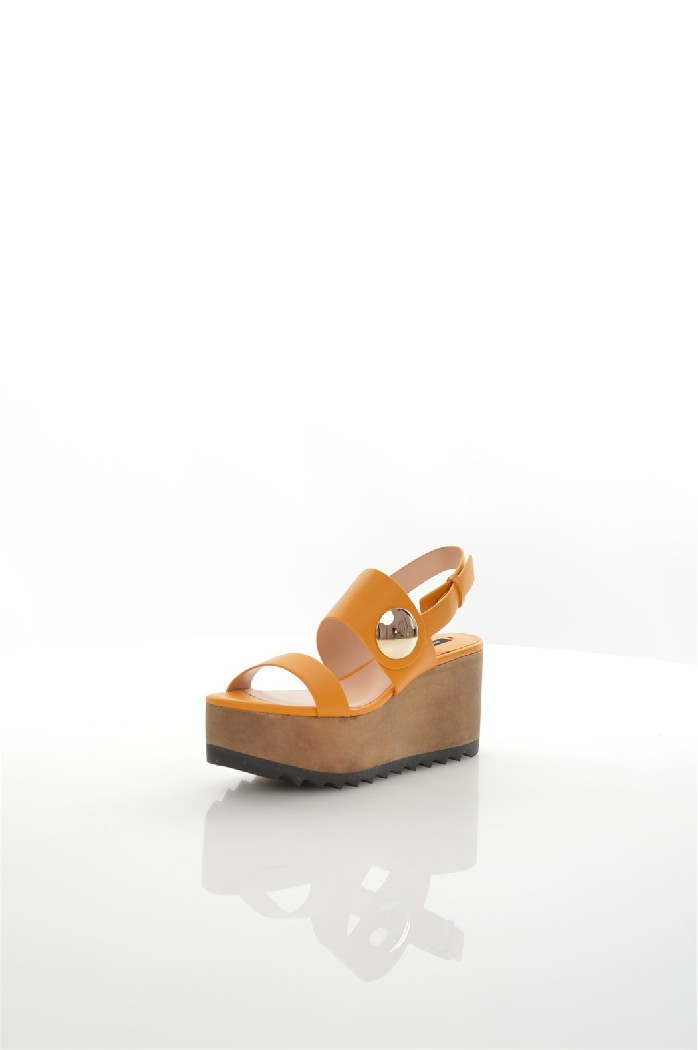 женские босоножки на каблуке mango, желтые