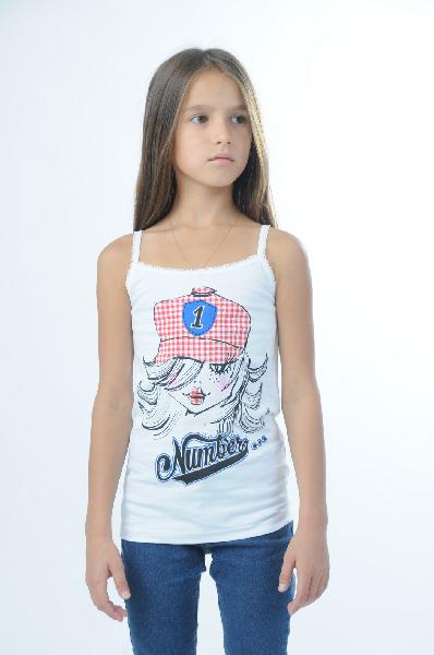 футболка без рукавов апрель для девочки, белая