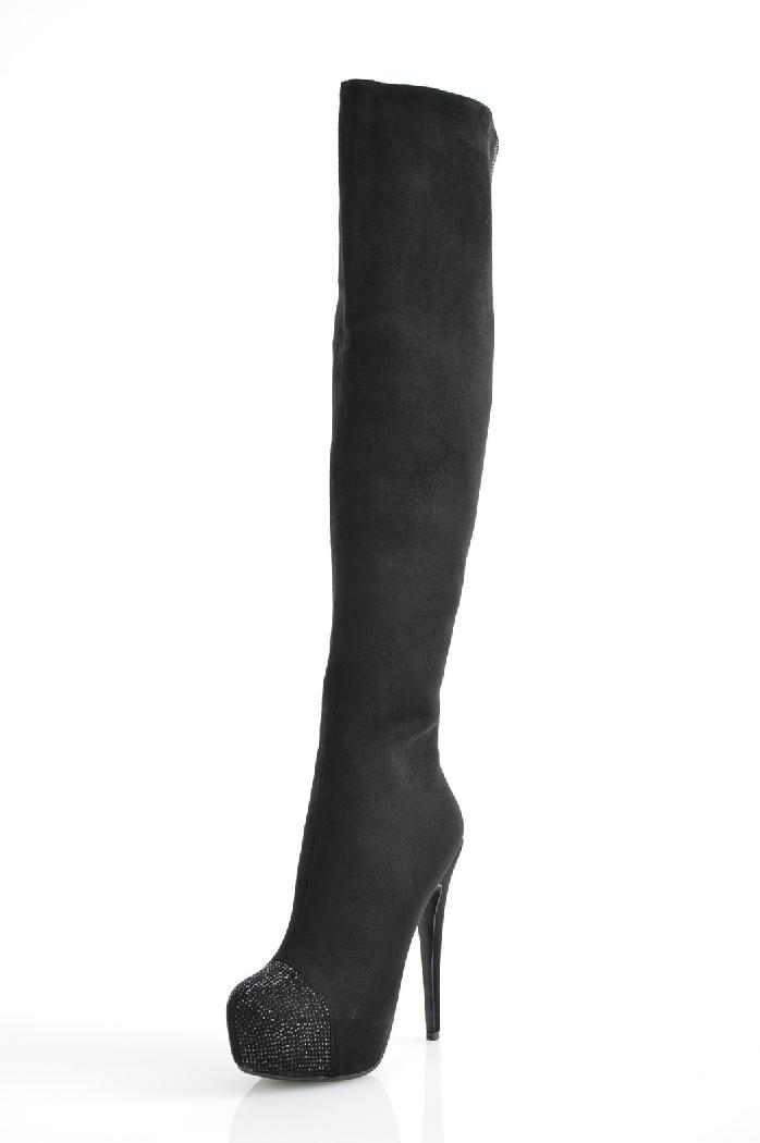 женские ботфорты на каблуке inario, черные