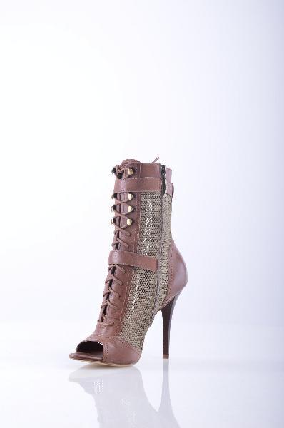 женские полусапожки на каблуке guess, коричневые