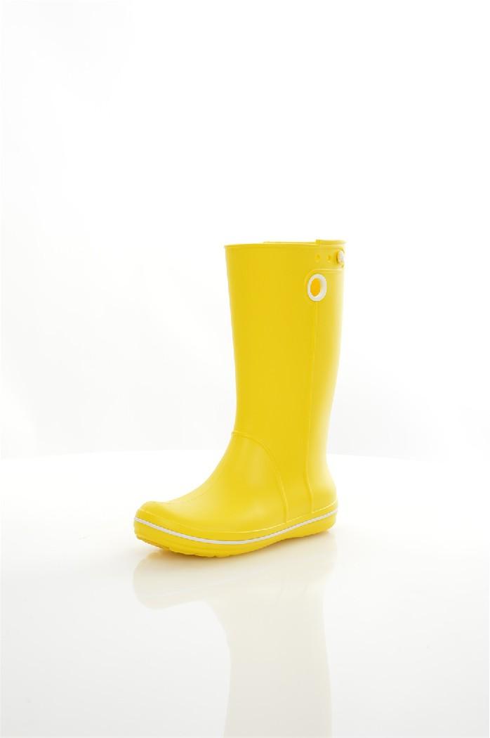 Резиновые сапоги CROCSЖенская обувь<br>Цвет: желтый<br> Состав: croslite 100%<br> <br> Крослайт – натуральный материал, сделанный на основе вспененной смолы. Он легче и прочнее, чем резина, а, главное, под влиянием повышения температуры, принимает форму стопы, что исключает возможность натереть мозоль и позволяет носить кроксы на голую ногу.<br> <br> Вид каблука: без каблука<br> Сезон: лето<br> Пол: Женский<br> Страна: Соединенные Штаты<br><br>Высота каблука: Без каблука<br>Материал: Croslite<br>Сезон: ВЕСНА/ОСЕНЬ<br>Коллекция: Весна-лето<br>Пол: Женский<br>Возраст: Взрослый<br>Цвет: Желтый<br>Размер RU: 37.5