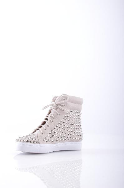 JEFFREY CAMPBELL Высокие кеды и кроссовкиЖенская обувь<br>Замша, заклепки, одноцветное изделие, шнуровка, скругленный носок, резиновая подошва с тиснением, без каблука.<br>Страна: США<br><br>Высота каблука: Без каблука<br>Материал: Натуральная кожа<br>Сезон: ЛЕТО<br>Коллекция: Весна-лето<br>Пол: Женский<br>Возраст: Взрослый<br>Цвет: Бежевый<br>Размер RU: 37