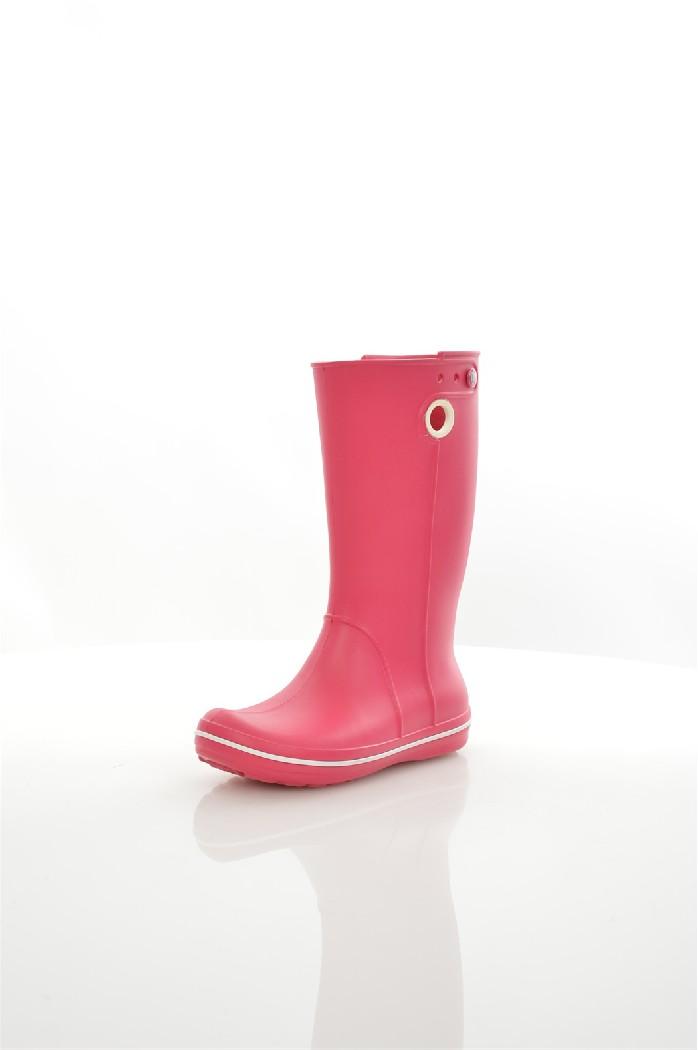 Резиновые сапоги CROCSЖенская обувь<br>Крослайт – натуральный материал, сделанный на основе вспененной смолы. Он легче и прочнее, чем резина, а, главное, под влиянием повышения температуры, принимает форму стопы, что исключает возможность натереть мозоль и позволяет носить кроксы на голую ногу.<br> <br> Цвет: малиновый<br> Состав: croslite<br> <br> Высота платформы: Низкая: 1.3 см<br> Высота: Высокие<br> Материал верха: Искусственный материал<br> Материал подошвы: Искусственный материал<br> Материал подкладки обуви: Искусственный материал<br> Форма мыска: Закругленный мысок<br> Голенище: Высота голенища: 32 см; Обхват голенища: 46 см<br> Сезон: демисезон<br> Пол: Унисекс<br> Страна: Соединенные Штаты<br><br>Высота платформы: 1.3 см<br>Высота голенища / задника: 32 см<br>Материал: Croslite<br>Сезон: ВЕСНА/ОСЕНЬ<br>Коллекция: Весна-лето<br>Пол: Женский<br>Возраст: Взрослый<br>Цвет: Розовый<br>Размер RU: 37