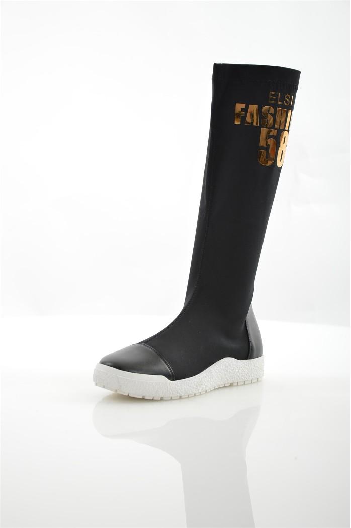 Сапоги ELSIЖенская обувь<br>Материал подошвы: искусственный материал, рифленая<br> Цвет: чёрный<br> Материал верха: стрейч, кожа искусственная<br> Материал подкладки: стрейч<br> Материал стельки: кожа искусственная<br> Параметры изделия: для размера 38/38: толщина подошвы 1,5-2 см, ширина носка стельки 7,8 см, длина стельки 24,5 см, обхват голенища 38 см<br> Уход за изделием: протирать губкой<br> Страна: Италия<br><br>Высота каблука: 2 см<br>Объем голени: 38 см<br>Материал: Искусственная кожа<br>Сезон: ВЕСНА/ОСЕНЬ<br>Коллекция: Осень-зима<br>Пол: Женский<br>Возраст: Взрослый<br>Цвет: Черный<br>Размер RU: 37