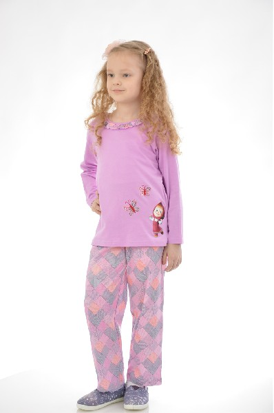 Пижама LowryОдежда для девочек<br>Цвет: сиреневый<br> <br> Состав: хлопок 100%<br> <br> Великолепная пижама, состоящая из лонгслива и брюк. Лонгслив с длинными рукавами, округлым вырезом с оборочками и забавной вышивкой. Брюки прямого кроя на эластичном поясе. Все изделия выполнены из нежного, приятного к телу материала.<br> <br> Вырез горловины Округлый вырез<br> Длина изделия Мини: 41 см<br> Длина рукава Длинные: 37 см<br> По назначению Повседневные<br> Габариты предметов Длина: 65 см<br> Брюки (шорты) Ширина брючин: 16.5 см; Высота посадки: 23 см; Длина по внутреннему шву: 44 см<br> Сезон круглогодичный<br><br> Страна: США<br><br>Материал: Хлопок<br>Сезон: МУЛЬТИ<br>Коллекция: Весна-лето<br>Пол: Женский<br>Возраст: Детский<br>Цвет: Розовый<br>Размер Height: 140