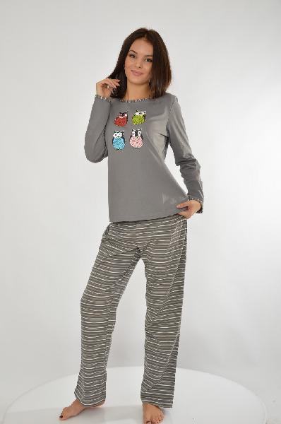 Пижама 3 части Vivance DreamsЖенская одежда<br>Пижама, 3 части. Свободный покрой, 2 модных цвета. Кофточка с длинными рукавами, актуальным принтом Совы и круглым вырезом, украшенным окантовкой в полоску. Шорты и брюки с эластичным поясом<br> <br> Материал: материал верха: 100% хлопок<br> Страна: Германия<br><br>Материал: Хлопок<br>Сезон: ЛЕТО<br>Коллекция: Весна-лето<br>Пол: Женский<br>Возраст: Взрослый<br>Цвет: Серый<br>Размер INT: S