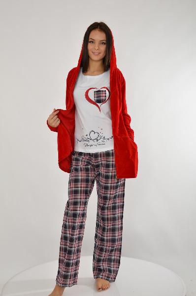 Комплект HAYSЖенская одежда<br>Цвет: красный, белый, темно-синий<br> <br> Состав: хлопок 80%,полиэстер 20%<br> <br> Очаровательный комплект, состоящий из короткого халатика, брюк и футболки. Все изделия выполнены из комфортного материала. Футболка: 92% хлопок, 8% эластан. Брюки: 100% хлопок. Длина футболки по спинке ок. 57 см.<br> <br> Длина рукава Длинные, 61 см<br> Вид застежки Молния<br> Тип карманов Накладные<br> Габариты предметов Длина, 76 см<br> Брюки (шорты) Ширина брючин, 21 см<br> Брюки (шорты) Высота посадки, 22 см<br> Брюки (шорты) Длина по внутреннему шву, 78 см<br> Сезон круглогодичный<br> Пол Женский<br> Страна Турция<br><br>Материал: Хлопок<br>Сезон: МУЛЬТИ<br>Коллекция: Весна-лето<br>Пол: Женский<br>Возраст: Взрослый<br>Цвет: Разноцветный<br>Размер INT: M