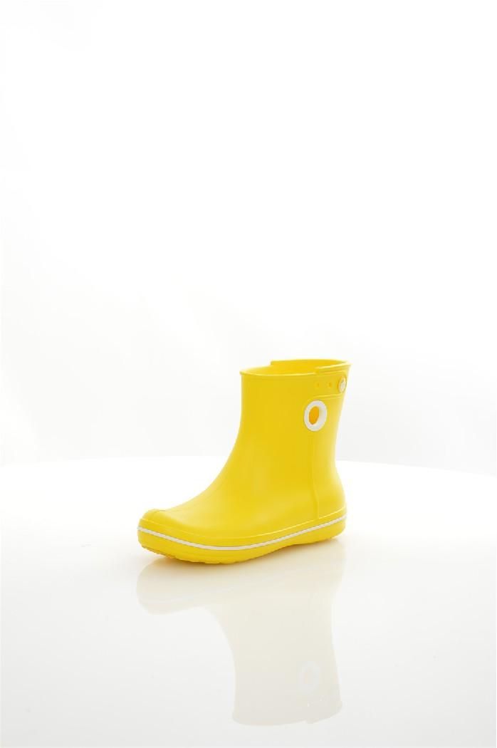 Резиновые сапоги CROCSЖенская обувь<br>Цвет: желтый<br> Состав: croslite 100%<br> <br> Крослайт – натуральный материал, сделанный на основе вспененной смолы. Он легче и прочнее, чем резина, а, главное, под влиянием повышения температуры, принимает форму стопы, что исключает возможность натереть мозоль и позволяет носить кроксы на голую ногу.<br> <br> Вид каблука: без каблука<br> Сезон: лето<br> Пол: Женский<br> Страна: Соединенные Штаты<br><br>Материал: Croslite<br>Сезон: ВЕСНА/ОСЕНЬ<br>Коллекция: Весна-лето<br>Пол: Женский<br>Возраст: Взрослый<br>Цвет: Желтый<br>Размер RU: 37.5