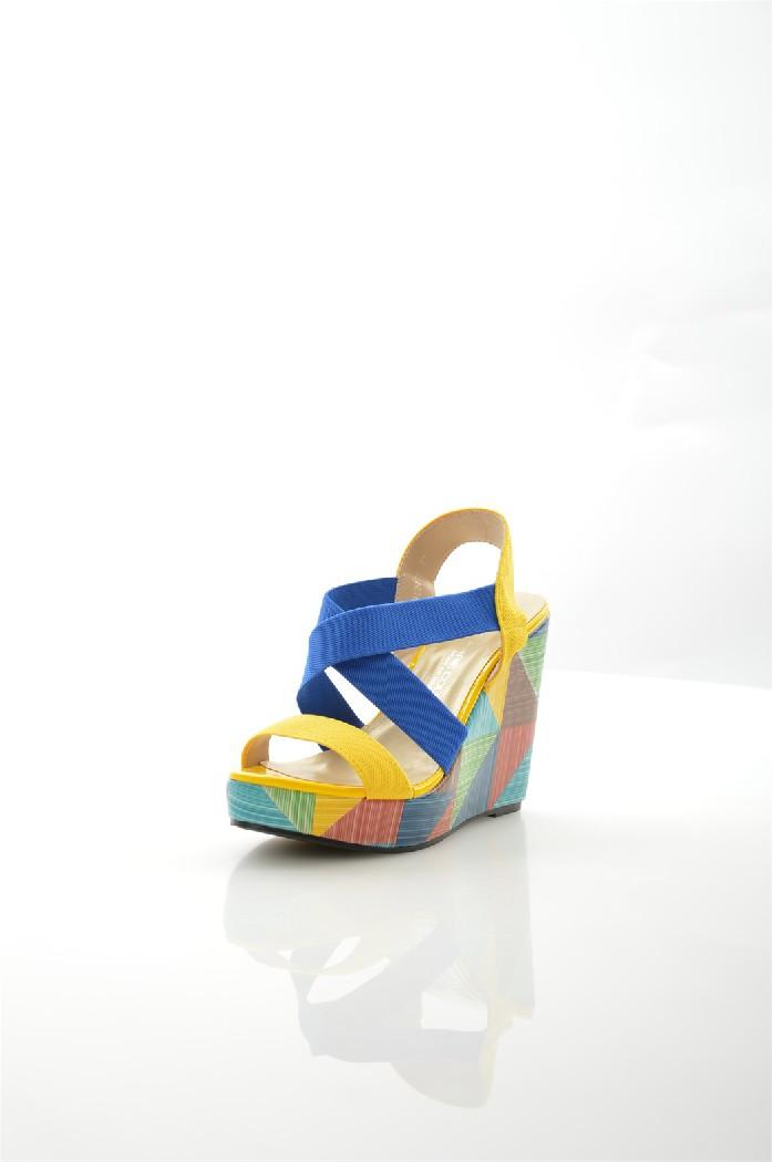 Босоножки MARIE COLLETЖенская обувь<br>Цвет: желтый<br> Материал верха: текстиль-стрейч<br> Материал подкладки: кожа искусственная<br> Материал стельки: кожа искусственная<br> Материал подошвы: резина, рифленая<br> Сезон: лето<br> Высота каблука: 12 см<br> Цвет и обтяжка каблука: мультицвет, кожа искусственная<br> Уход за изделием: деликатная ручная чистка<br> <br> Страна: Франция<br><br>Высота каблука: 12 см<br>Материал: Текстиль<br>Сезон: ЛЕТО<br>Коллекция: Весна-лето<br>Пол: Женский<br>Возраст: Взрослый<br>Цвет: Разноцветный<br>Размер RU: 38