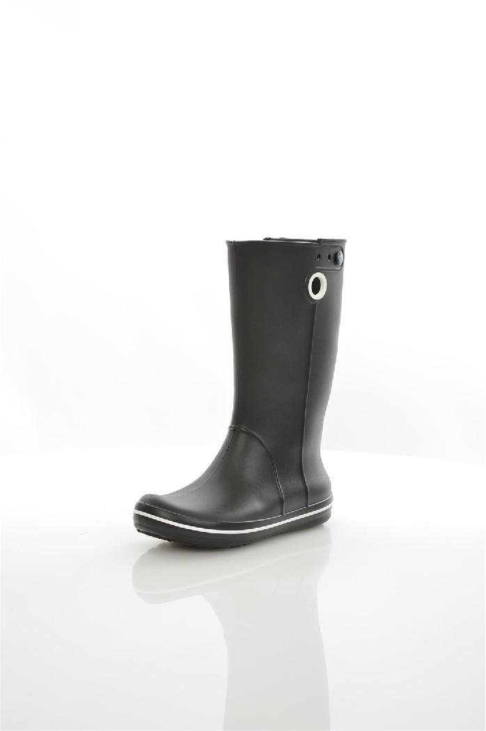 Резиновые сапоги CROCSЖенская обувь<br>Цвет: черный<br> Состав: croslite<br> <br> Крослайт – натуральный материал, сделанный на основе вспененной смолы. Он легче и прочнее, чем резина, а, главное, под влиянием повышения температуры, принимает форму стопы, что исключает возможность натереть мозоль и позволяет носить кроксы на голую ногу.<br> <br> Высота платформы: Низкая: 1.3 см<br> Высота: Высокие<br> Материал верха: Искусственный материал<br> Материал подошвы: Искусственный материал<br> Материал подкладки обуви: Искусственный материал<br> Форма мыска: Закругленный мысок<br> Голенище: Высота голенища: 32 см; Обхват голенища: 46 см<br> Сезон: демисезон<br> Пол: Унисекс<br> Страна: Соединенные Штаты<br><br>Высота платформы: 1.3 см<br>Высота голенища / задника: 32 см<br>Материал: Croslite<br>Сезон: ВЕСНА/ОСЕНЬ<br>Коллекция: Весна-лето<br>Пол: Женский<br>Возраст: Взрослый<br>Цвет: Черный<br>Размер RU: 38