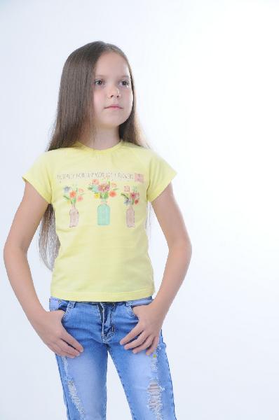 Футболка Bell bimboОдежда для девочек<br>Цвет: желтый, голубой, оранжевый<br> <br> Состав: хлопок 100%<br> <br> Нежный джемпер с коротким рукавом для девочки из трикотажного полотна (кулирка), с печатью и стразами, прекрасно подойдет для повседневной носки.<br> Вырез горловины Округлый вырез<br> Длина рукава Короткие<br> Рисунок Печатный рисунок<br> Длина изделия по спинке, 36 см<br> Вид застежки Без застежки<br> Покрой Прямой<br> Фактура материала Трикотажный<br> Декоративные элементы Принт<br> Рукав длина, 14.5 см<br> Сезон лето<br> Пол Девочки<br> Страна бренда Беларусь<br> Страна производитель Беларусь<br> Комплектация: футболка<br><br>Материал: Хлопок<br>Сезон: ЛЕТО<br>Коллекция: Весна-лето<br>Пол: Женский<br>Возраст: Для малышей<br>Цвет: Желтый<br>Размер Height: 116
