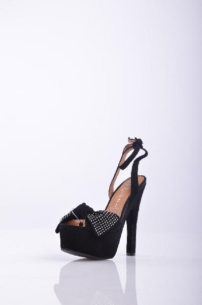 Сандалии JEFFREY CAMPBELLЖенская обувь<br>Замша, аппликации из металла, бант, одноцветное изделие, ремешок на щиколотке, скругленный носок, резиновая подошва, обтянутый каблук<br>Высота каблука: 17 см <br>Высота платформы: 5.5 см<br>Страна: США<br><br>Высота каблука: 17 см<br>Высота платформы: 5.5 см<br>Материал: Натуральная кожа<br>Сезон: ЛЕТО<br>Коллекция: Весна-лето<br>Пол: Женский<br>Возраст: Взрослый<br>Цвет: Черный<br>Размер RU: 37