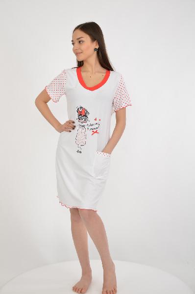 Ночная сорочка NicClubЖенская одежда<br>Цвет: белый, красный<br> <br> Состав: хлопок 51%,эластан 5%,модал 44%<br> <br> Ночная сорочка с округлым вырезом горловины и короткими рукавами. Модель украшена рисунком.<br> <br> Вырез горловины V-образный вырез<br> Длина рукава Короткие: 20 см<br> Габариты предметов Дл...<br><br>Материал: Хлопок<br>Сезон: МУЛЬТИ<br>Коллекция: (Справочник &quot;Номенклатура&quot; (Общие)): Весна-лето<br>Пол: Женский<br>Возраст: Взрослый<br>Цвет: Белый<br>Размер INT: M