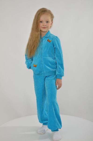 Костюм Arina BallerinaОдежда для девочек<br>Цвет: голубой<br> <br> Состав: 95% хлопок, 5% эластан, 80% хлопок, 20% полиэстер<br> <br> Описание: великолепный костюм из трикотажного велюра яркого, бирюзового цвета со стильными вышитыми бабочками на разных деталях изделия. Модель состоит из двух предметов: Ку...<br><br>Материал: Хлопок<br>Сезон: МУЛЬТИ<br>Коллекция: (Справочник &quot;Номенклатура&quot; (Общие)): Весна-лето<br>Пол: Женский<br>Возраст: Детский<br>Цвет: Голубой<br>Размер Height: 146