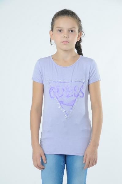 Guess ФутболкаОдежда для девочек<br>Футболка сиреневого цвета от Guess декорирована принтом с изображением символики бренда и сверкающими стразами. Модель выполнена из тонкого струящегося трикотажа. Детали: прилегающий силуэт, круглый вырез, короткие рукава с фиксированными отворотами.<br><br>С...<br><br>Материал: Вискоза<br>Сезон: МУЛЬТИ<br>Коллекция: (Справочник &quot;Номенклатура&quot; (Общие)): Весна-лето<br>Пол: Женский<br>Возраст: Детский<br>Цвет: Сиреневый<br>Размер Years: 10Y