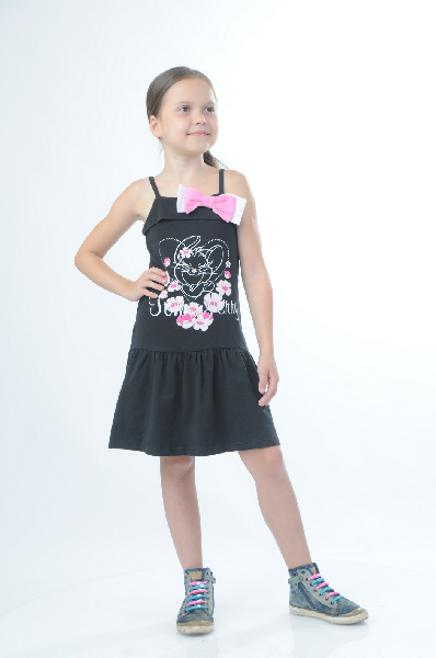 Платье TOM and JERRYОдежда для девочек<br>Цвет: черный, розовый, белый<br> <br> Состав: хлопок 95%,эластан 5%<br> <br> Очаровательное платье с принтом известного мультипликационного героя станет любимым предметом гардероба юной модницы. Вырез - каре, тонкие бретели, расклешенная юбка после заниженной талии. Модель декорирована бантами и стразами.<br> <br> Вырез горловины Каре<br> Талия Заниженная<br> Длина изделия Мини, 65.5 см<br> Декоративные элементы Стразы<br> Длина рукава Без рукавов<br> Вид бретелек Тонкие бретельки<br> Длина изделия по спинке, 72 см<br> Вид застежки Без застежки<br> Конструктивные элементы Кокетка<br> Особенности ткани Эластичная<br> Материал подкладки без подкладки<br> Сезон лето<br> Пол Девочки<br> Страна бренда Россия<br><br>Материал: Хлопок<br>Сезон: ЛЕТО<br>Коллекция: Весна-лето<br>Пол: Женский<br>Возраст: Детский<br>Цвет: Черный<br>Размер Height: 122