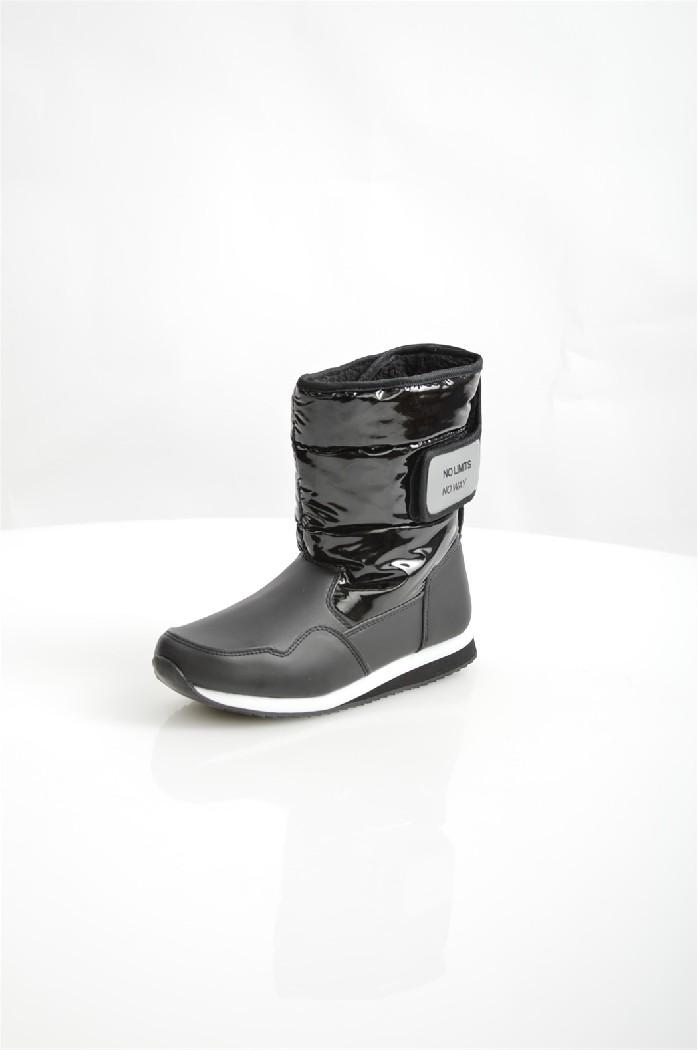 Дутики No Limits No WayЖенская обувь<br>Детали: застежка на липучку, флисовый утеплитель, рельефная резиновая подошва.<br> <br> Материал верха: искусственная кожа, полимер, текстиль<br> Внутренний материал: флис<br> Материал подошвы: резина<br> Материал стельки: флис<br> Высота голенища / задника: 20 см<br> Обхват голенища: 30.5 см<br> Сезон: зима<br> Цвет: черный<br> Застежка: на липучках<br><br>Объем голени: 30 см<br>Высота голенища / задника: 20 см<br>Материал: Искусственная кожа<br>Сезон: ЗИМА<br>Коллекция: Осень-зима<br>Пол: Женский<br>Возраст: Взрослый<br>Цвет: Черный<br>Размер RU: 38